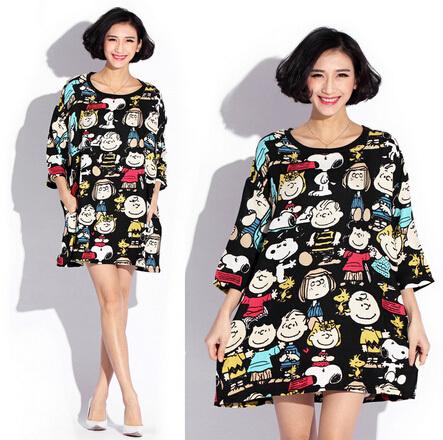 Plus Size Women Cartoon Vestidos Dresses Large Big Size Novelty Ladies Summer Dress Loose Casual Black Female Clothing White(China (Mainland))
