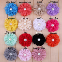 100pcs/lot 7cm Mesh Lace Flower With Pearl Shabby Chic Artificial Fabric Flowers Girls Women Wedding / Clothing Hair Accessories