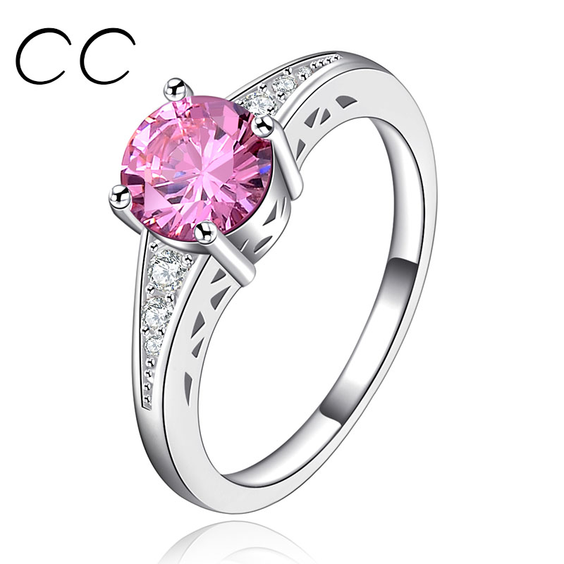 Beautiful Rings for Women Made With 1.5 Carat Pink AAA Zirconia Diamond White Gold Plated Wedding/Engagement/Party Ring CC126(China (Mainland))