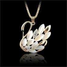 Buy 2017 New Hot ! Fashion Fine Jewelry Gold Color Rhinestone Opal Shining Swan Elegant Long Necklaces & Pendants Women N-95 for $1.53 in AliExpress store