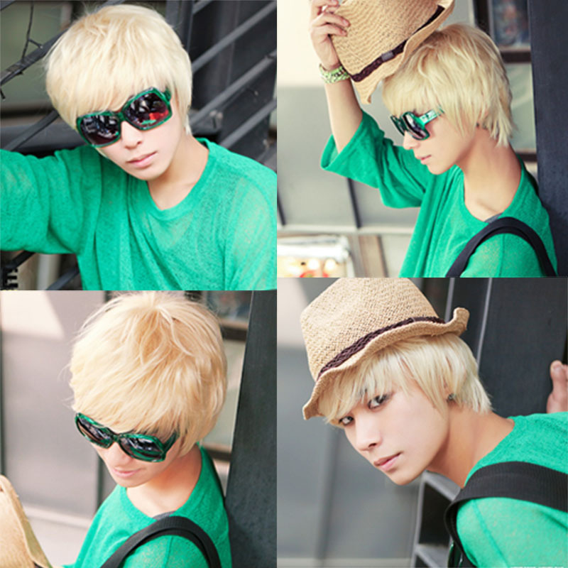 Fashion New Cosplay Party Short Hair Mens Full Wigs Korean Style Blonde Color(China (Mainland))