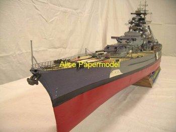 [Alice papermodel] Longest 1.4 meter 1:250 1:180 German battleship Bismarck warship boat army models