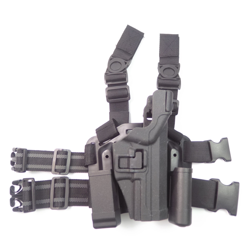 Фотография For H&K USP Tactical Hunting Holster LV3 Leg Drop Gun Holster with Magazine Clip mini Flashlight pouch