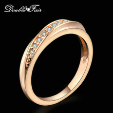Buy Double Fair Unique Cubic Zirconia Wedding/Engagement Rings Wholesale 18KRGP Fashion Brand Jewelry Women Lover's anel DFR314 for $2.74 in AliExpress store