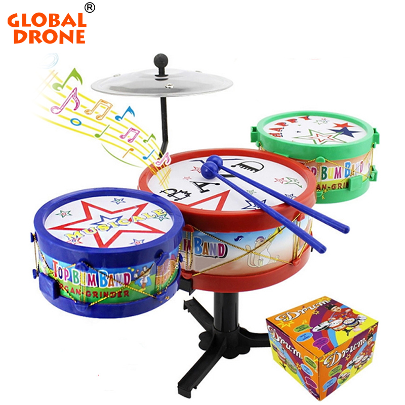 Excellent Musical Toddler Toys Jazz Drum Rock Set Music Educational Toy Kids Early Learning Musical Drum Toy(China (Mainland))