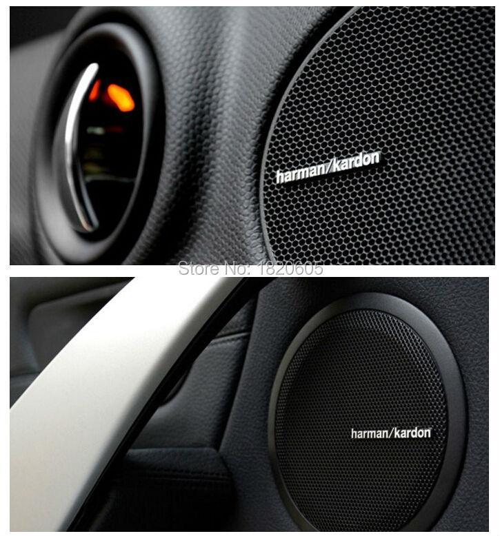 100pcs/lot high quality For harman/kardon Hi-Fi Speaker audio Speaker 3D Aluminum Car Badge Emblem stereo sticker 4.3x0.5cm(China (Mainland))