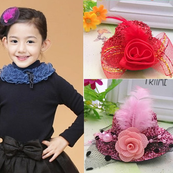 New Arrival Winter Brand Girls Hair Accessories Lovely Ribbon Cap Hairpins Festival Party Hat Barrette Dance Hair Clip