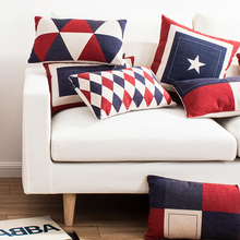 Brief morden cotton red blue white pillow cushion