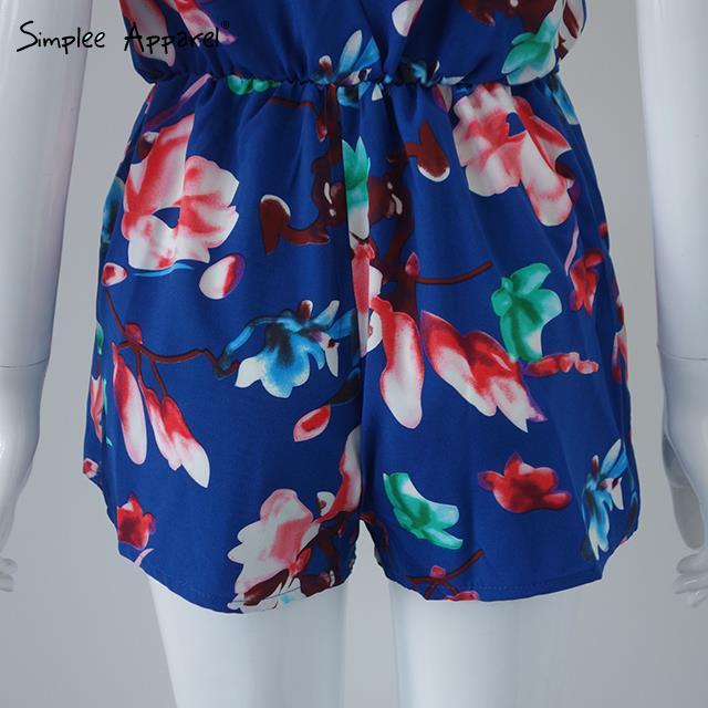 Simplee Apparel 2015 Summer  Женщины jumpsuit romper Deep v neck strap keyhole back playsuits Vintage floral Мини bodysuit
