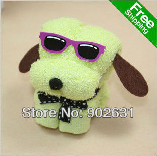 New Arrival~Free Shipping 20pcs/lot Many Colors Novelty Cotton Towel Cartoon toys sunglass dog towel christmas kids gift