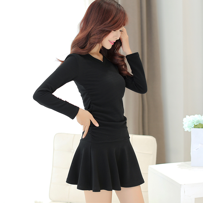 Women's fashion long-sleeved V-neck dress solid color Slim 2015 Hot - Netmall store