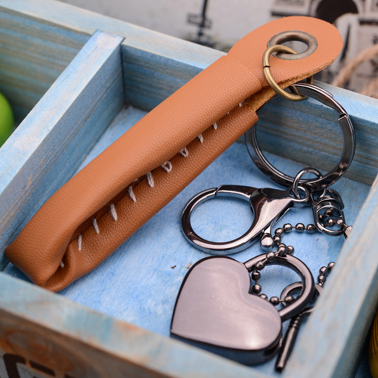 Creative Keychain Keychain couple concentric lock key chain metal key ring a generation of fat(China (Mainland))