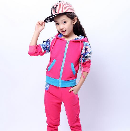 2015 Floral Girls Clothing Set Spring Autumn New Kids Sports Suit Long Sleeve Top & Sport Pants Sets(China (Mainland))