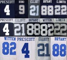 Mens 4 DAK 21 EZEKIEL 82 JASON 88 DEZ Blue White Throwback elite Jerseys(China (Mainland))