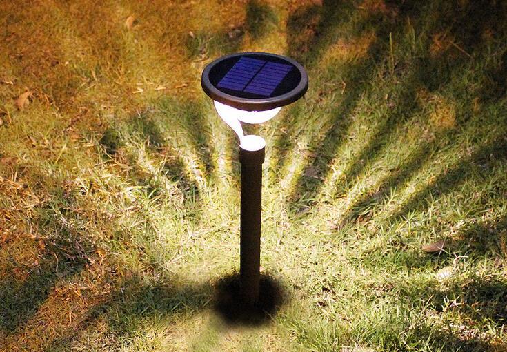 2015NEW Wholesale 2LED Solar Lamp powered panel Outdoor Garden Landscape Lawn Yard Path Spot decor Light Lamp Aluminum lamp body(China (Mainland))