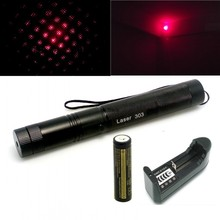 Laser 303 200mW Red Laser Pointer Adjustable Focal Length and Star Pattern Filter+4000MAH 18650 Battery+charger(China (Mainland))