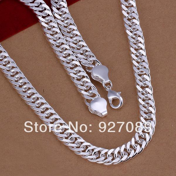 N039 Lost Money Promotion Fine Hot Charm Vintage Fashion Jewelry 925 Sterling Silver 10MM Figaro Chain Men's 20 Inches Necklaces(China (Mainland))