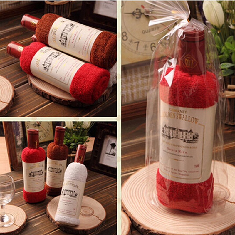 creative Red wine bottle shape towel gift opp bags present box single wine bottle 100% cotton towel cake gift(China (Mainland))
