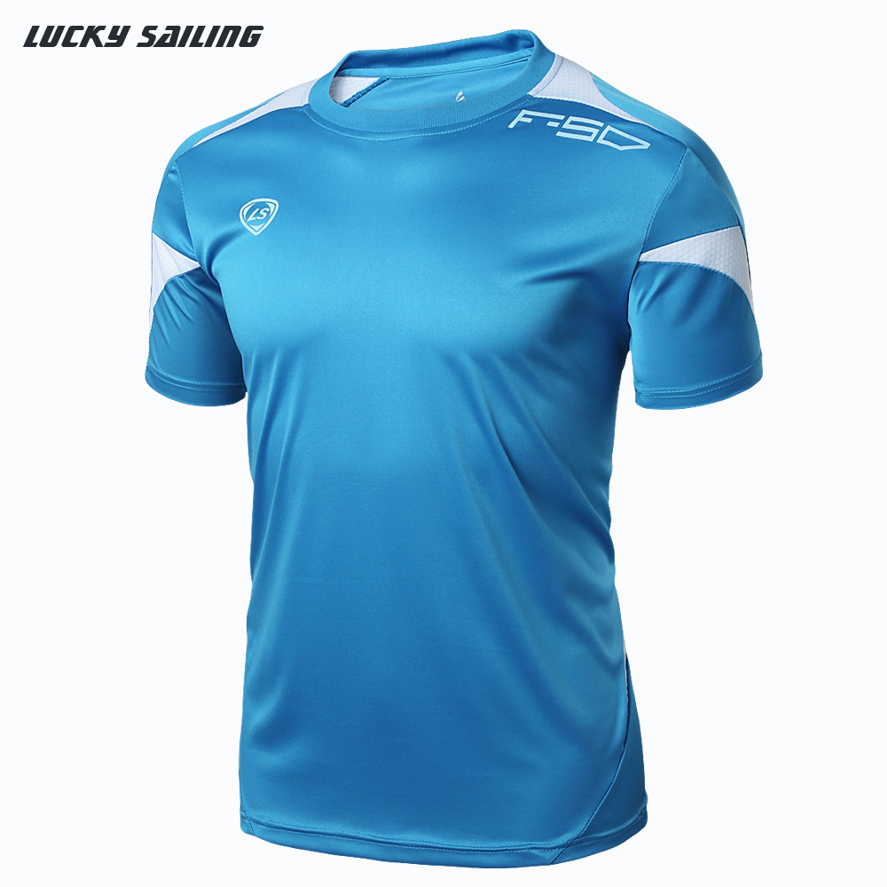 LUCKY SAILING Outdoor Sports Muscle Casual Short Sleeve Mens Undershirt Fitness Bodybuilding Clothing Men Workout Brand T shirt(China (Mainland))