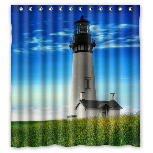High Quality Polyester Bath Curtains Print Lighthouse