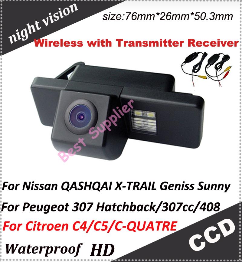 Wireless car rearview back camera for Nissan QASHQAI X-TRAIL Geniss Sunny/Citroen C4/C5/C-QUATRE/Peugeot 307 Hatchback/307cc/408(China (Mainland))