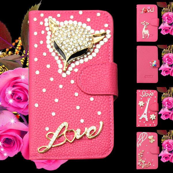 3D Flip leahter skin bag mobile phone case cover Bling Diamond crystal holder wallet Alcatel One Touch POP C7 OT 7041D 7040D - NO.2 Case store