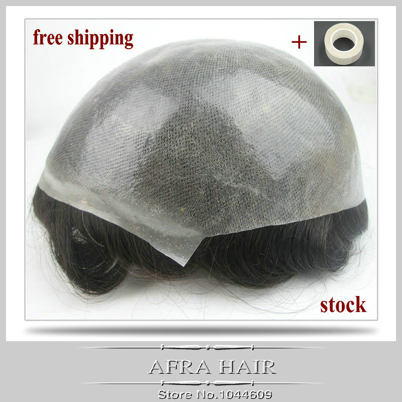 100% Natural Hair Thin Skin Toupee Hair For Man Replacement Systems Stock H080(China (Mainland))