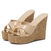 Size 34-40 Summer Sandals Platform High Heel Flip Flops PU Leather Wedges Slippers Shoes  Women Sandals