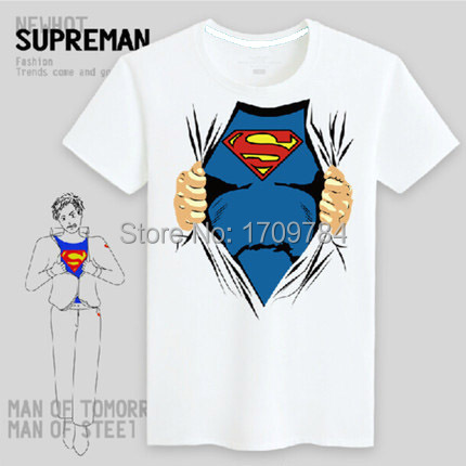 Free shipping summer style 3D t shirt hot superman t shirt 100% cotton men's T-shirt with short sleeves superhero tee shirts(China (Mainland))