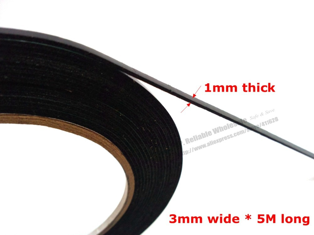 (1mm thick) 3mm*5M, Black Cellphone Dust Proof Sponge Foam Tape Double Sided Adhesive, for Phone Anti Dust Repair, Sealing(China (Mainland))