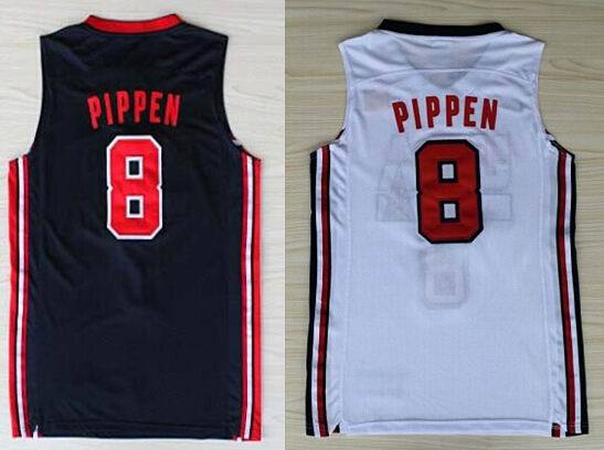 #8 Scottie Pippen Jersey White Blue 1992 Olympic Games Vintage mens basketball Best Quality China Authentic Aimee Smith Store(China (Mainland))