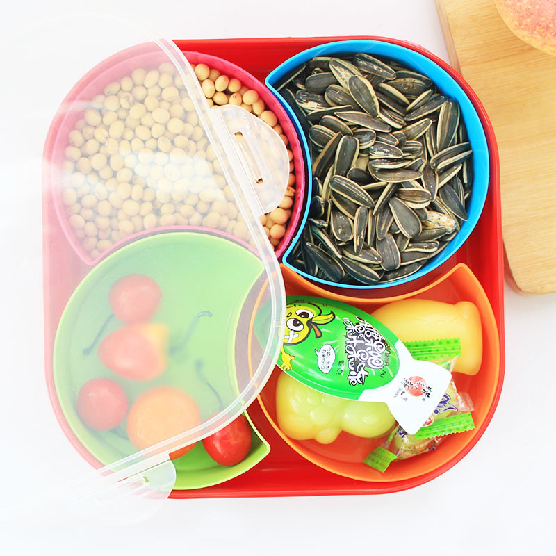 Detachable Band Cover Fruit Bowl with Dried Fruit Snack Box Candy Color Food Grade PP Material Tray Kitchen Storage Containers(China (Mainland))