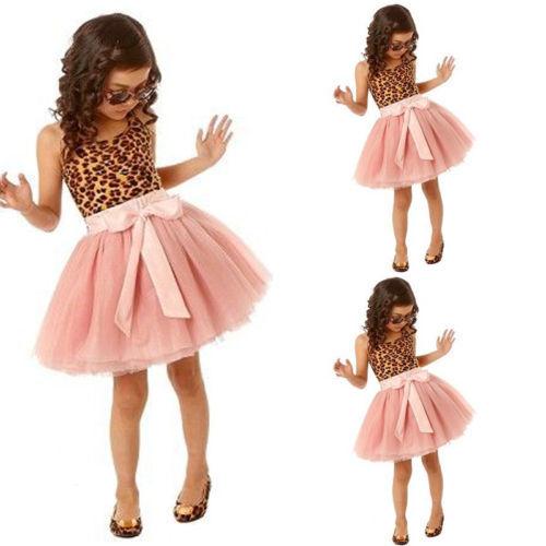 New 2015 Kids Girls Dresses Kids Vintage Lepoard Sleeveless Tulle dress Clothes(China (Mainland))