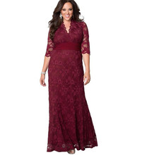 Women Big Large Plus Size Elegant Sexy Evening Maxi Long Little Black Red Party Lace Dresses 5xl 6xl 7xl 8 XL Clothing Gown(China (Mainland))