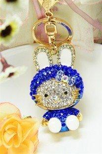 wholesale keychain/fashion keychain/2010 fashio Blue KITTY cat key Chain free shipping  Wholesale 20pc/lot no 5