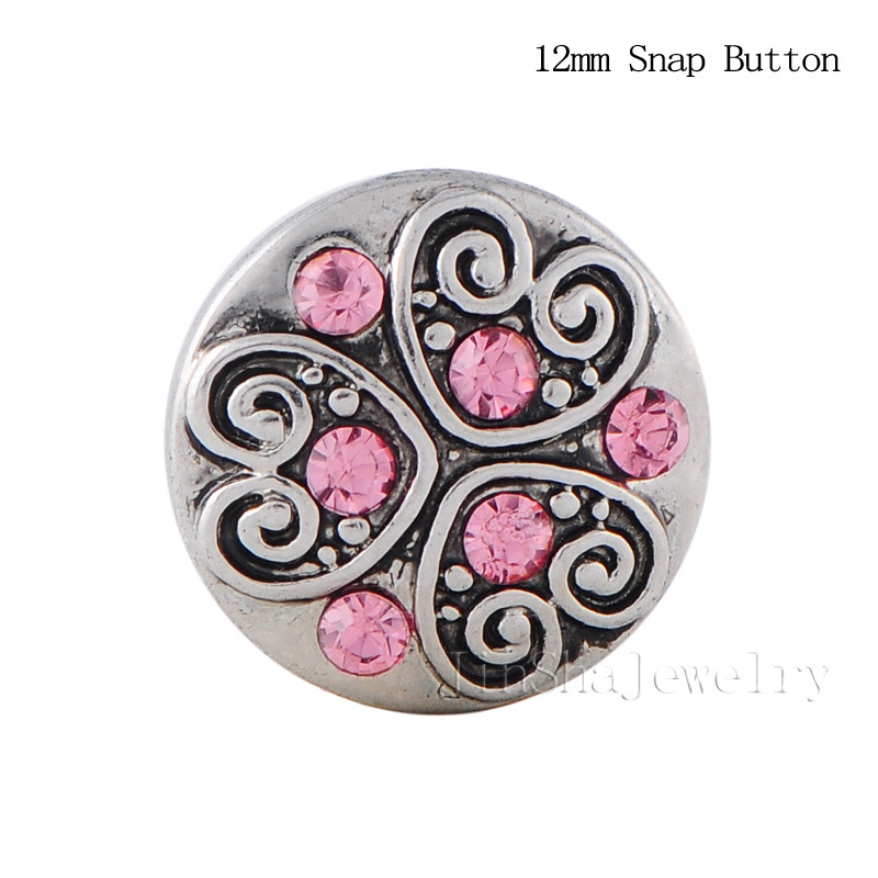 10PCS/Lot Small 12mm Snap Jewelry Interchangeable Jewelry Accessory Button Jewelry Heart Designs Crystal Free Shipping JS1262(China (Mainland))