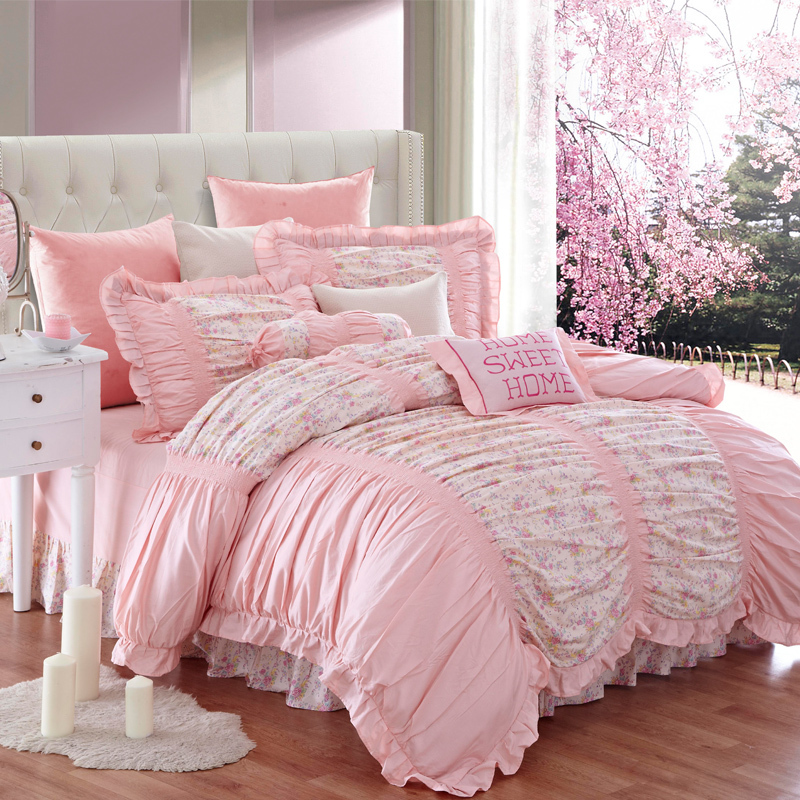 100 cotton bedding set bed skirt style home textile bed set bed linen
