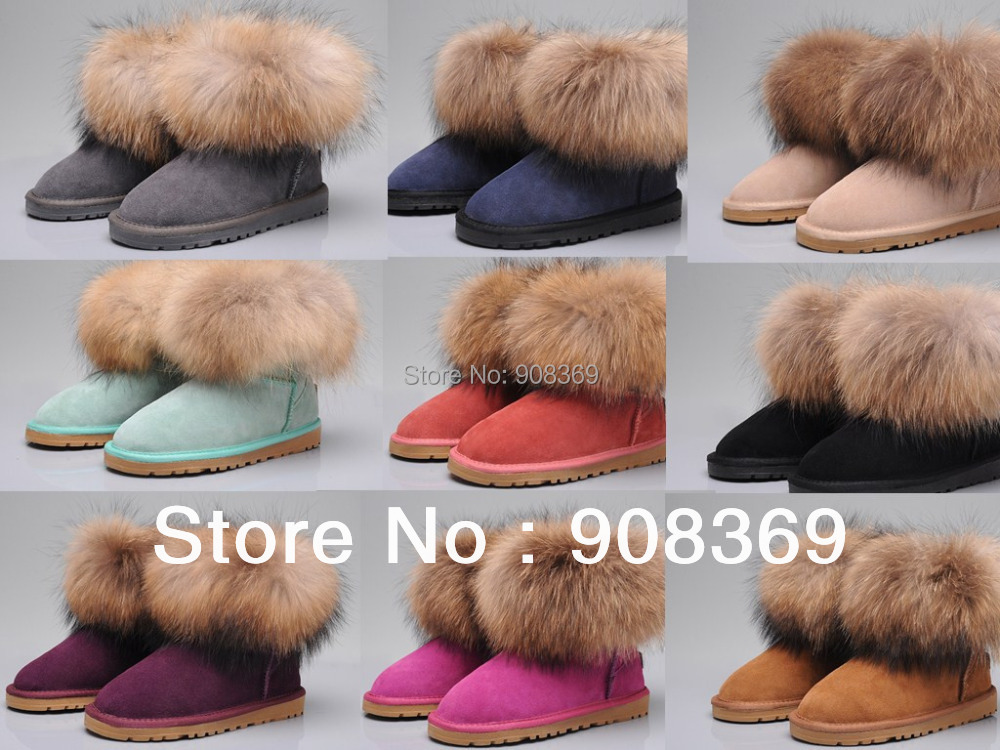 int'l Brand Women Ankle boots natural fur,cowhide and Fox Wool warm ankle snow boot,12 colors winter shoes with Original box(China (Mainland))