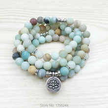 SN1142 Fashion Women`s 8 mm Matte Amazonite 108 Mala Beads Bracelet or Necklace Lotus Buddha Ohm Charm Bracelet Free Shipping(China (Mainland))