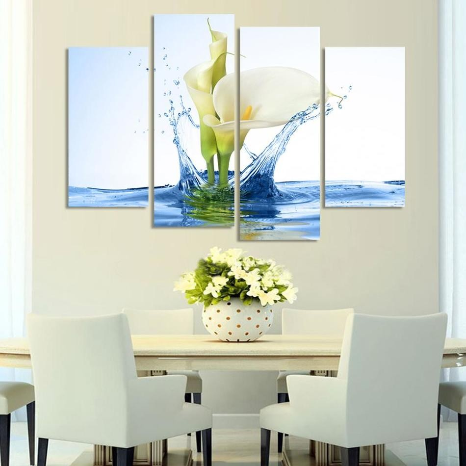 Modern Lily Flower In Water Canvas Painting 4 Pieces Flower Wall Art Modular Wall Pictures Hanging On Wall Decor For Living Room(China (Mainland))