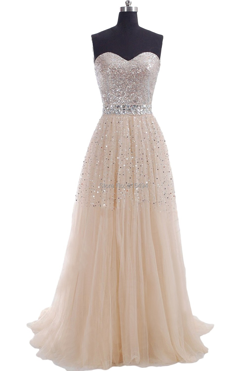 2015 sweetheart a line champagne formal prom dress long for Formal long dresses for weddings