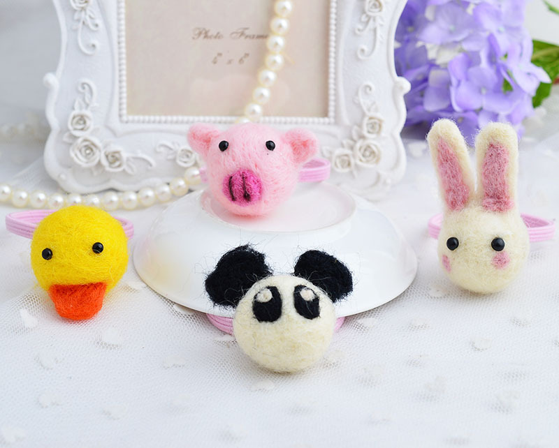 Wholesale Girls Cute Animal Elastic Hair Bands Woolen Hair Rope Fashion Bunny Piggy Panda Quacker Hair Wear Cute Kid Accessory(China (Mainland))