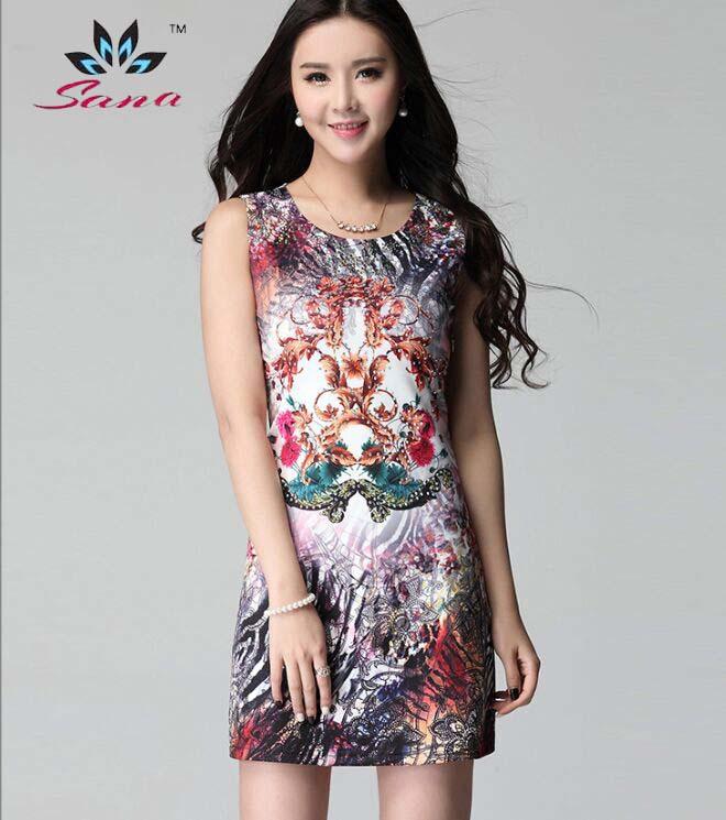 New 2015 summer women dress SANA Famous Brand slim sexy elegant bodycon dresses jersey blue Printing vs crystal Dresses(China (Mainland))