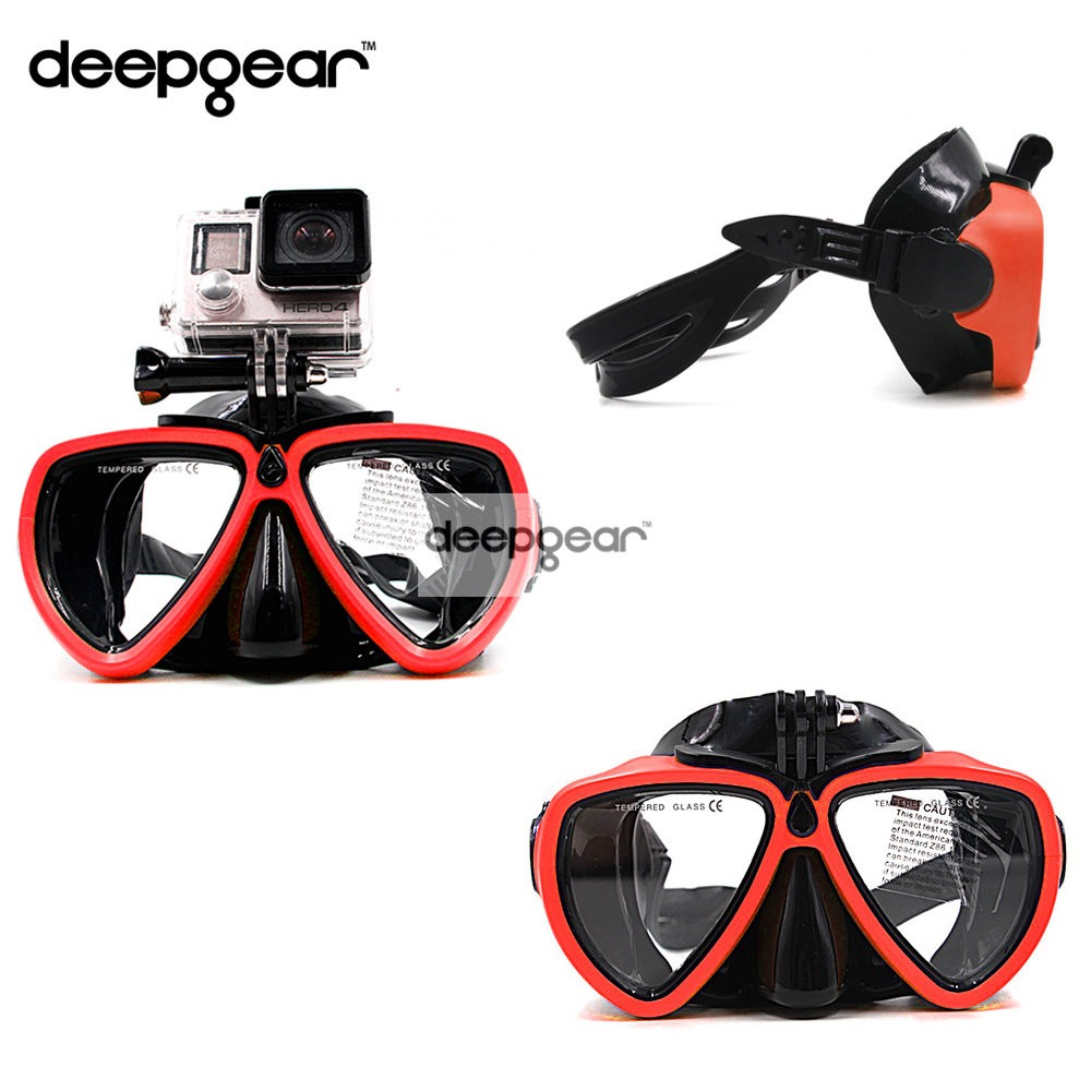 DEEPGEAR Newest Gopro Diving Mask Black silicone diving mask with XIAOMI SJCAM camera mount Adult diving mask to gopro diving(China (Mainland))
