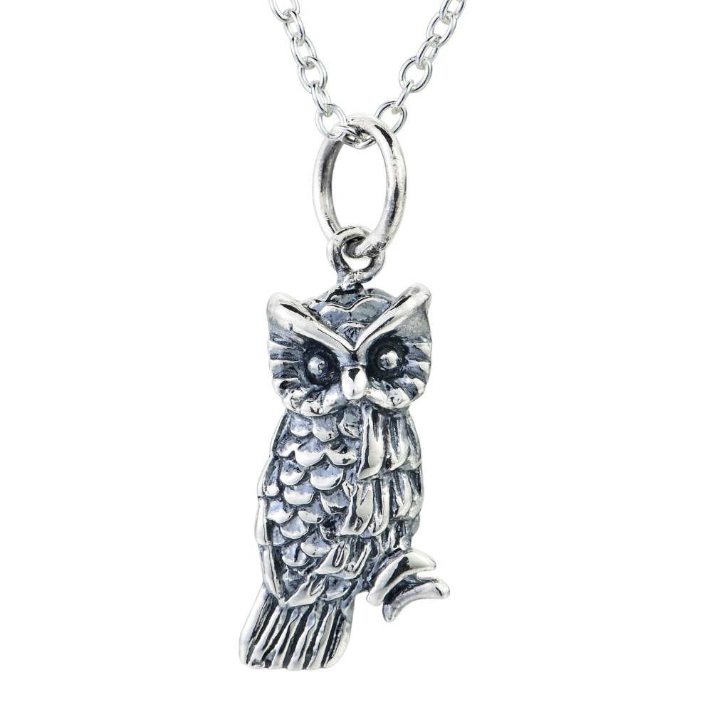 Solid 925 Sterling Silver 3d Vintage Retro Owl Pendant Necklace Rolo Chain Vintage Jewelry Animal Pendant Necklace For Women(China (Mainland))