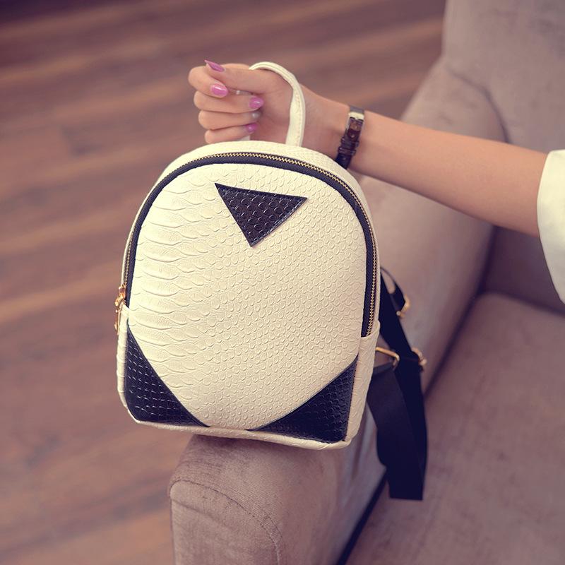 Women's Backpacks Bag Female Mini Backpack Fashion Snake Print Leather Black and White Stitching Backpack for Teenage Girls B944(China (Mainland))