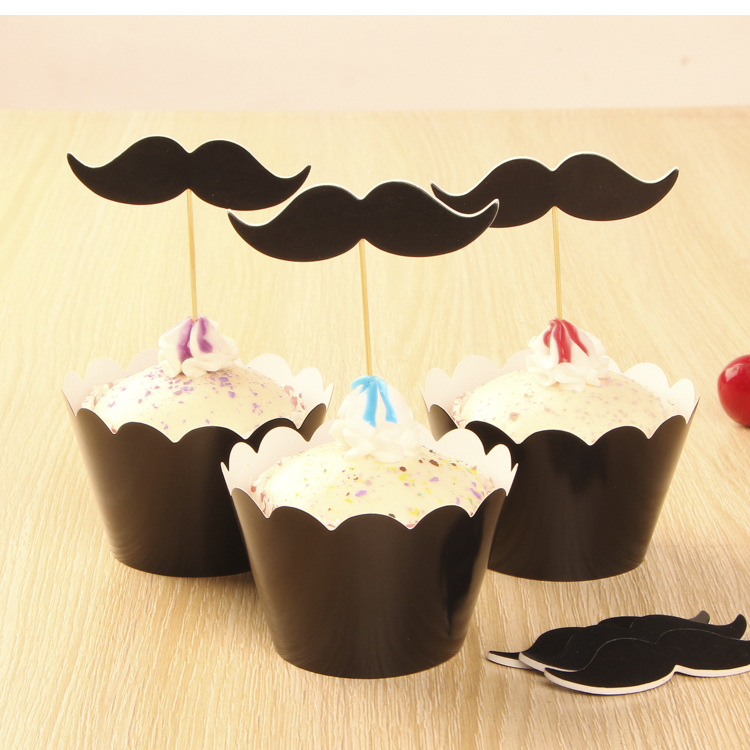 Free Shipping black mustache cake cup picks topper decoration boy party birthday Valentine supplies paper beard cupcake wrappers(China (Mainland))