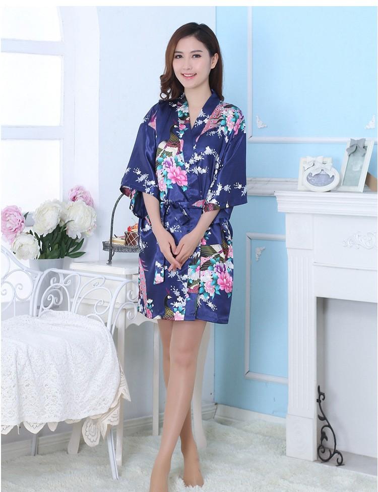 Женская лето одеяния новинка короткая конструкция шелковое кимоно ванна кардиган павлин одеяние пижамы красный зеленый черный желтый синий фиолетовый