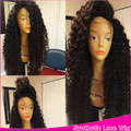 Black Wig Synthetic Lace Front Wig Glueless With Baby Hair Kinky Curly Wig Heat Resistant Fiber