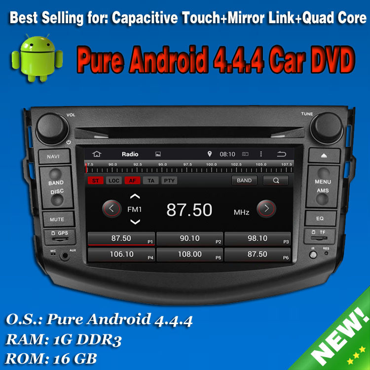 Pure Android 4.4 Car DVD Player For Toyota RAV4 2006-2012 7inch Capacitive Touchscreen With GPS Radio Stereo Built in WIFI(China (Mainland))